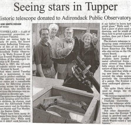 "Press Republican article (November 29, 2006) highlighting the generous donation of the ""Old Town Pump"" Telescope."