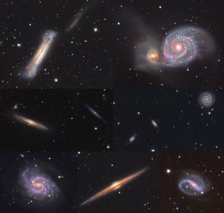 Galaxy Composite (Top Row, L-R): NGC3628, M51; (Middle Row, L-R) NGC4216, NGC4206, NGC2854, NGC2856, NGC2857; (Bottom Row, L-R) NGC4535, NGC4565, NGC7479 -- Tim Connolly (2021)